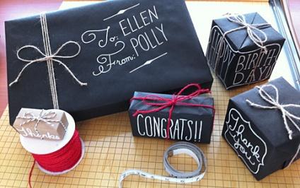 Papier cadeau personnalisé craie style tableau noir et jolie typo