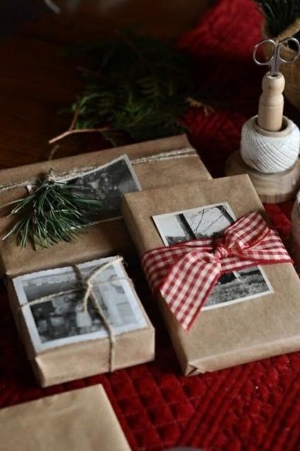 Papier cadeau personnalisé avec photo ancienne, ruban