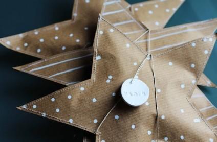 Papier cadeau personnalisé étoile kraft