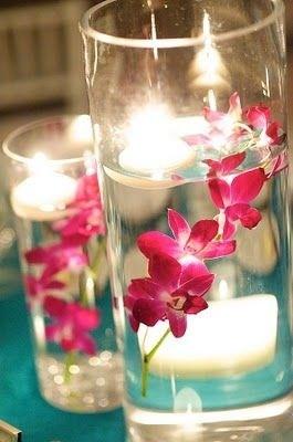 Orchidée dans l'eau photophore table de fete