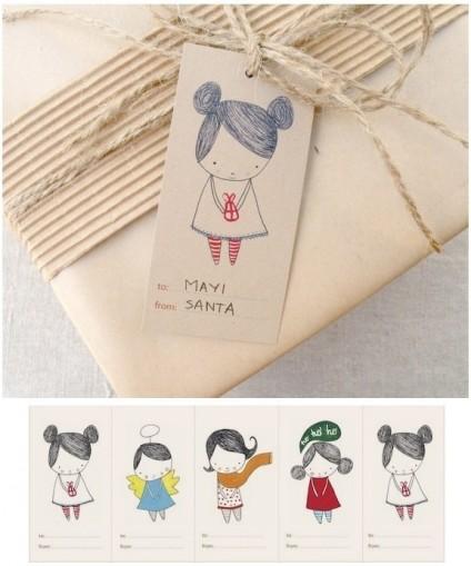 Sélection de nouveau papier cadeau avec étiquette Papier cadeau
