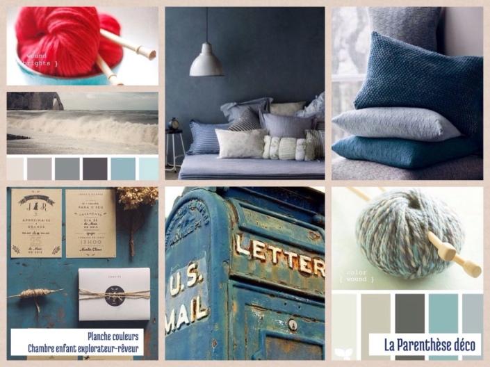 Une chambre dans les tons de bleu, lin et turquoise