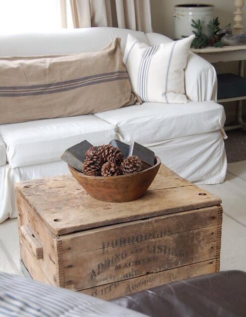 Caisse en bois table basse