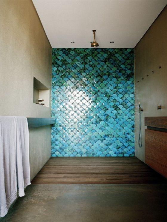 carrelage cailles de poisson cama eu bleu canard et turquoise la parenth se d co. Black Bedroom Furniture Sets. Home Design Ideas