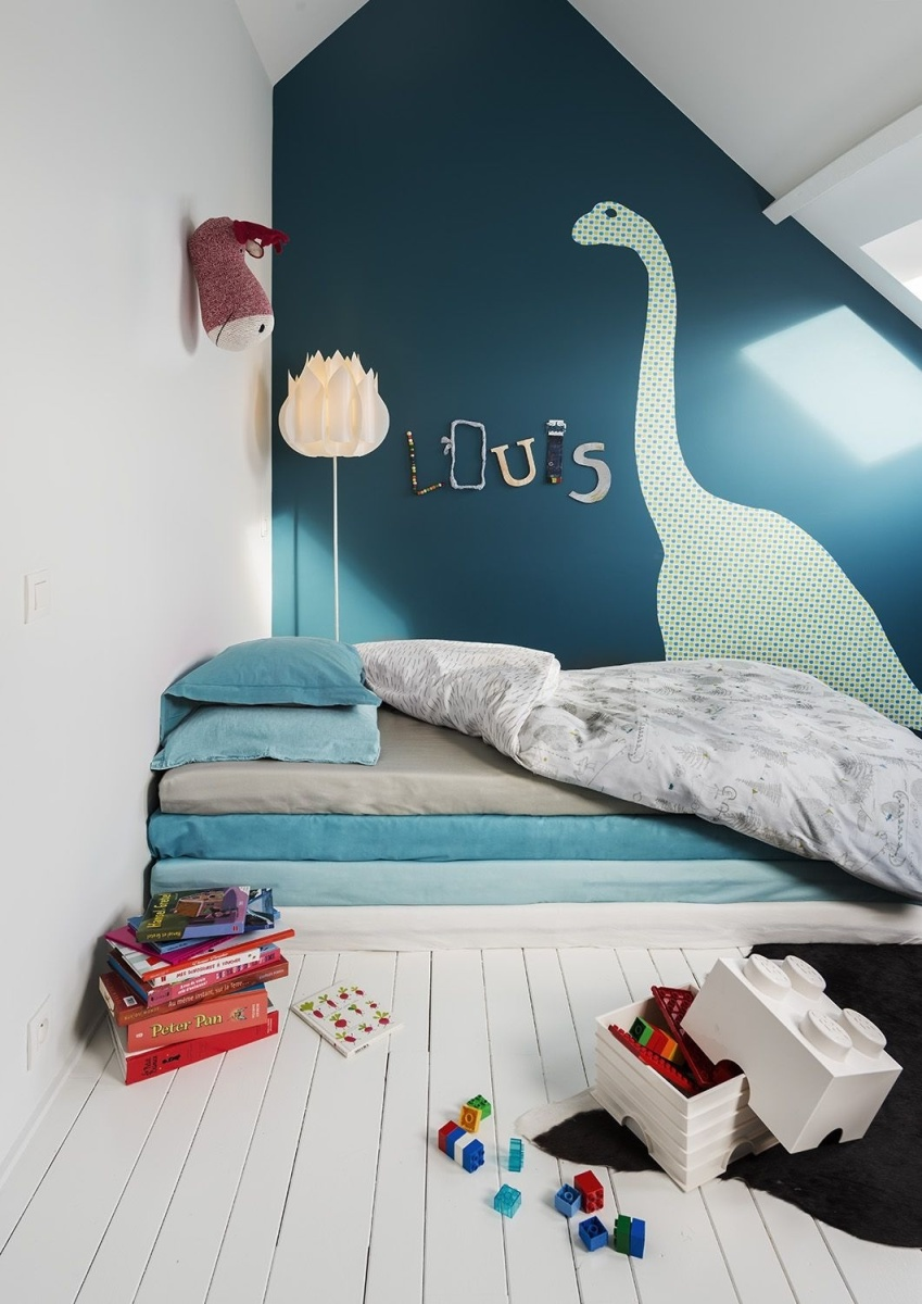 chambre d enfant bleu canard la parenth se d co. Black Bedroom Furniture Sets. Home Design Ideas