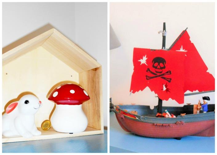 Maison bois, tirelire champignon bateau pirate chez la Blogueuse de La Parenthèse déco