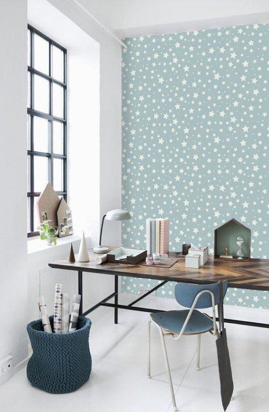 Rideaux Chambre Froide : Beaucoup de fraîcheur avec ce papier peint orné de motifs étoilés …