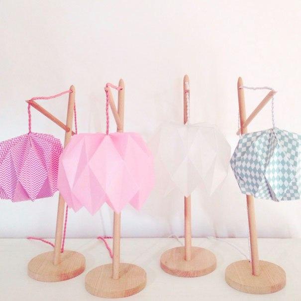 Lampes déco géométrique fait main origami