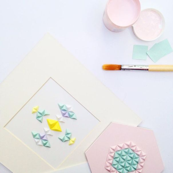Tableau papier pliage déco pastel